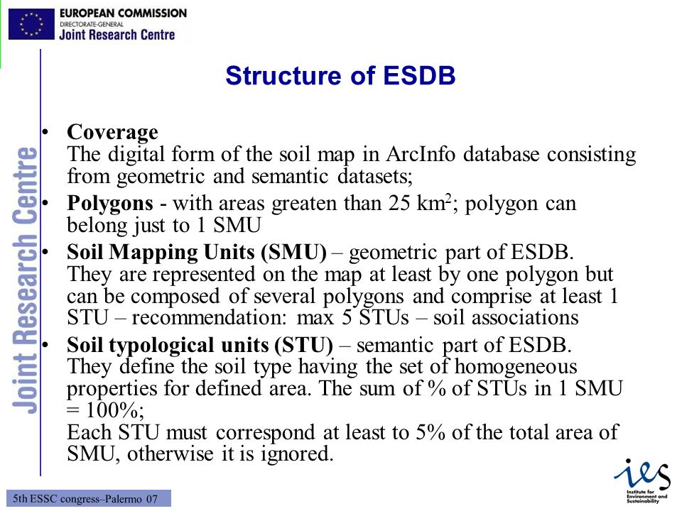 Structure of ESDB Coverage The digital form of the soil map in ArcInfo database consisting from geometric and semantic datasets;