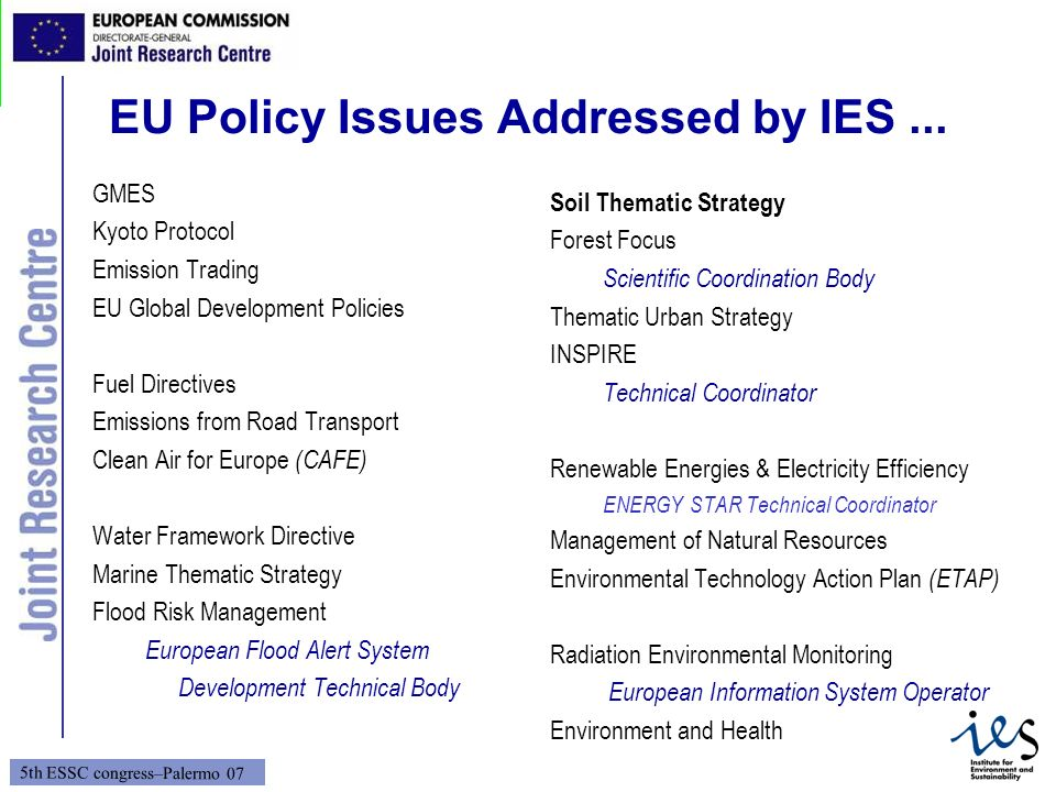 EU Policy Issues Addressed by IES ...