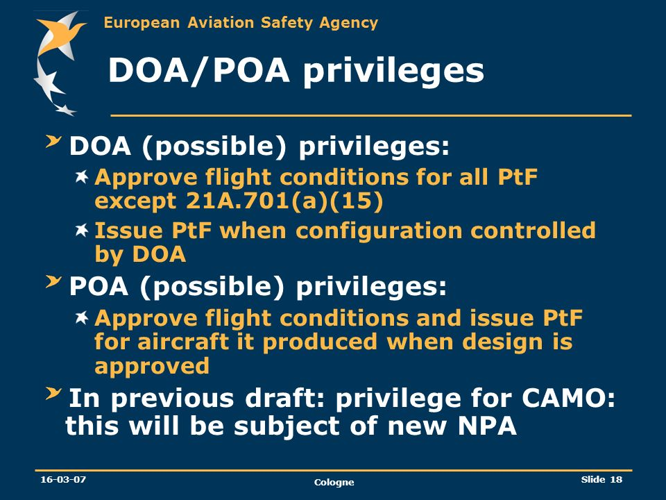 DOA/POA privileges DOA (possible) privileges: