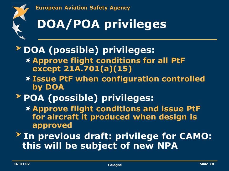 DOA/POA privileges DOA (possible) privileges: