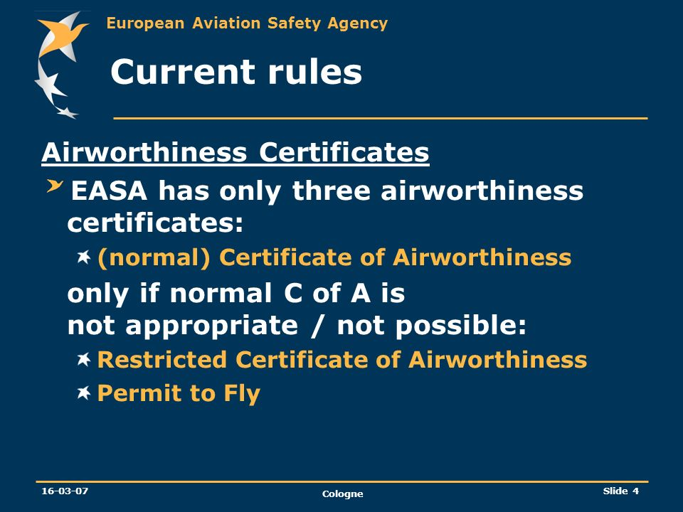 Current rules Airworthiness Certificates