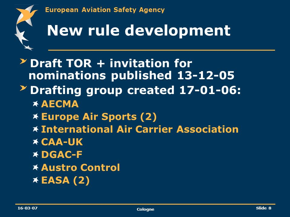 New rule development Draft TOR + invitation for nominations published 13-12-05. Drafting group created 17-01-06: