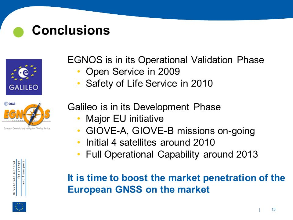 Conclusions EGNOS is in its Operational Validation Phase