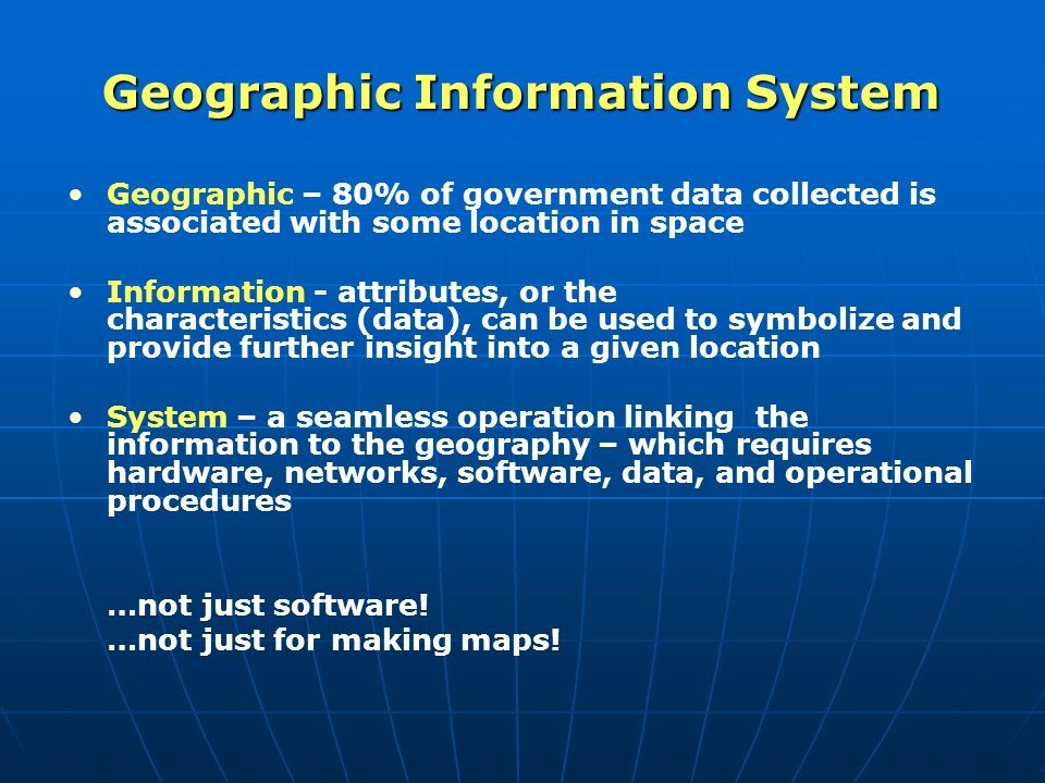 uses of gis systems Geographic information system or gis is technology that offers a radically different way in which we produce and use the maps required to manage our communities and industries.
