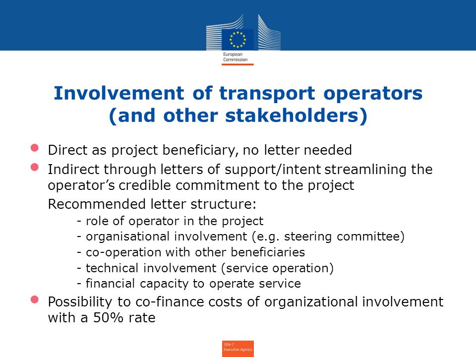 Involvement of transport operators (and other stakeholders)