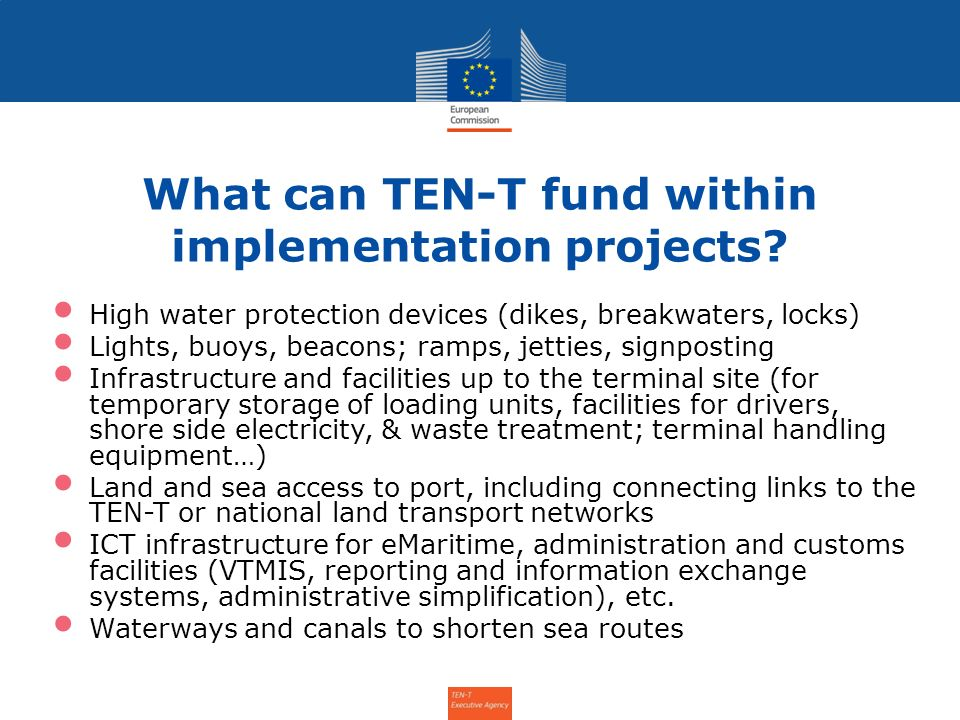 What can TEN-T fund within implementation projects