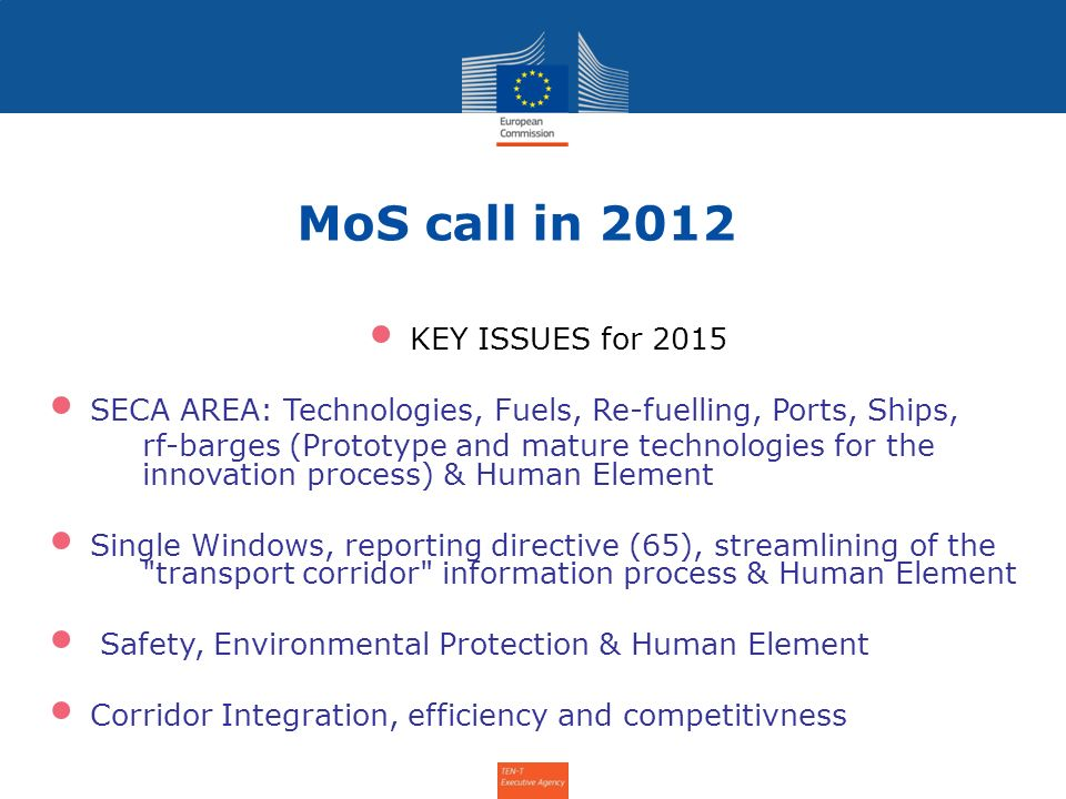 MoS call in 2012 KEY ISSUES for 2015