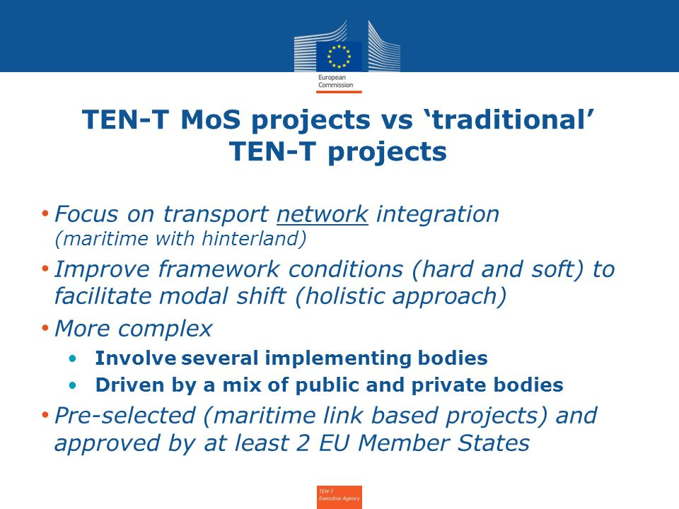 TEN-T MoS projects vs 'traditional' TEN-T projects