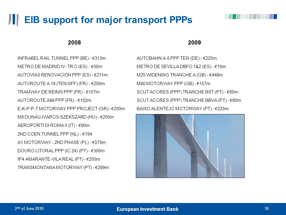 EIB support for major transport PPPs