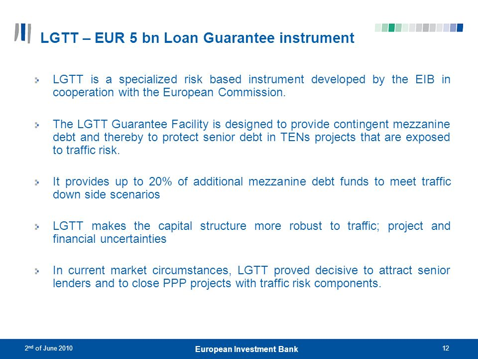 LGTT – EUR 5 bn Loan Guarantee instrument