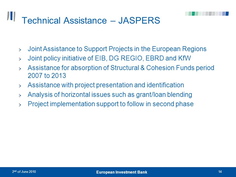 Technical Assistance – JASPERS