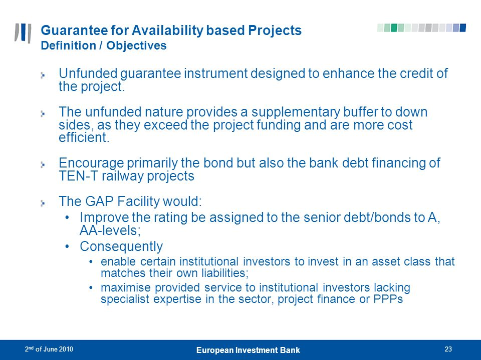 Guarantee for Availability based Projects Definition / Objectives