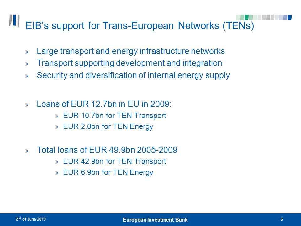 EIB's support for Trans-European Networks (TENs)