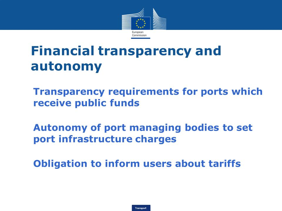 Financial transparency and autonomy