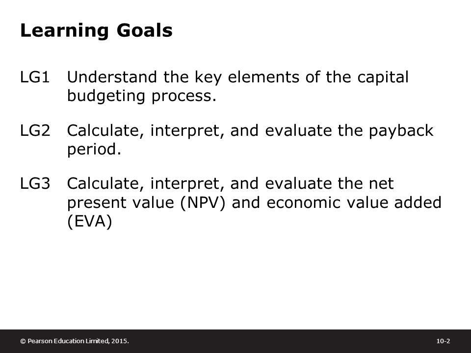 capital budgeting payback period npv Because knowing how long it will take to pay back isn't really what you want to  know npv allows you to do comparisons against a required level of return (aka.