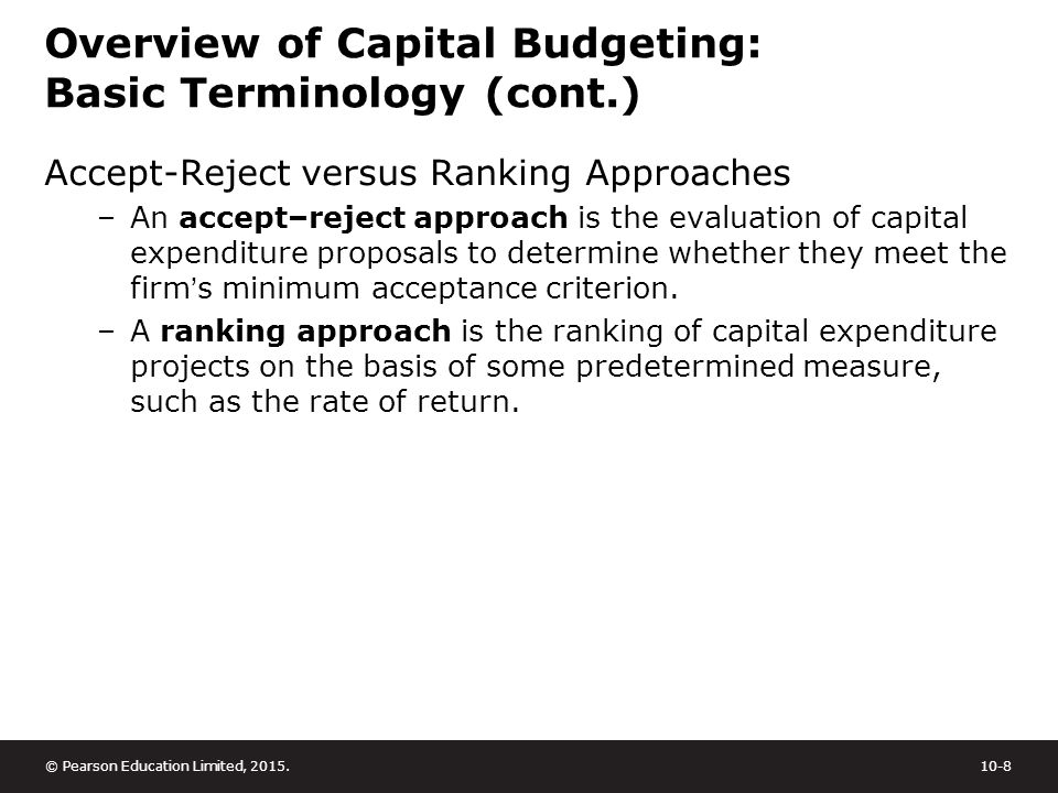 capital budgeting techniques summary Capital budgeting analysis is most accurate if you use the decision method of net  present value, more often referred to as npv.
