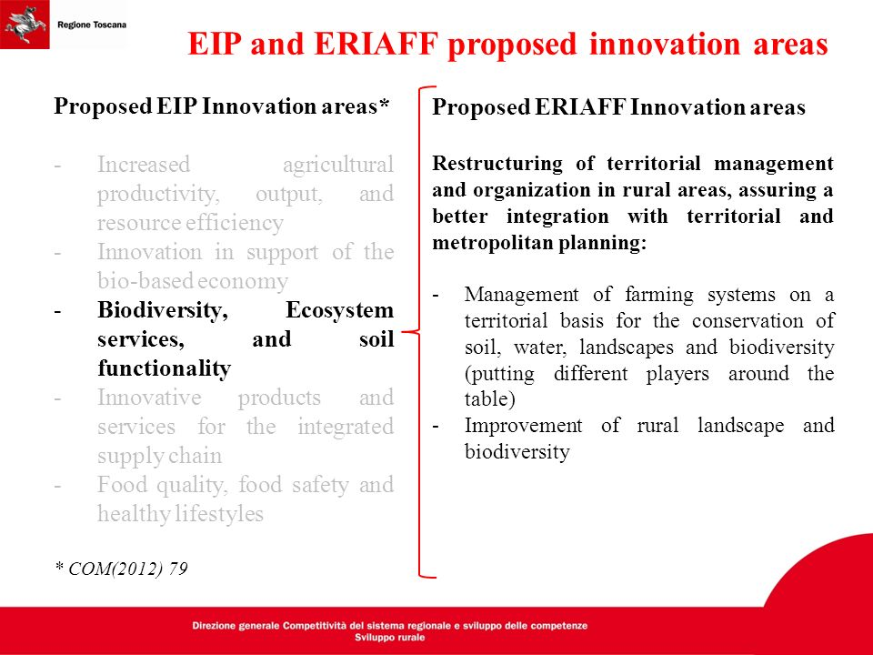 EIP and ERIAFF proposed innovation areas
