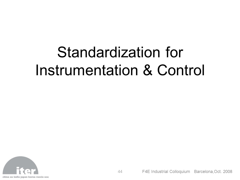 Standardization for Instrumentation & Control