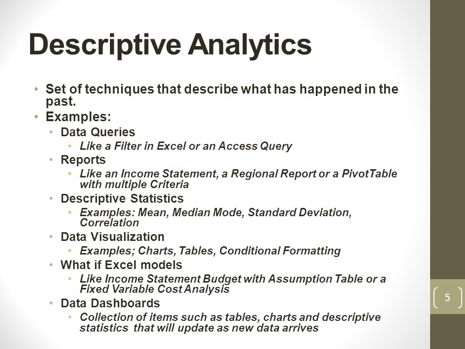 Descriptive statistics examples business plan