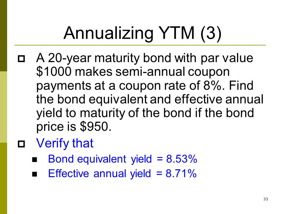 Bond Equivalent Yield Vs Yield To Maturity