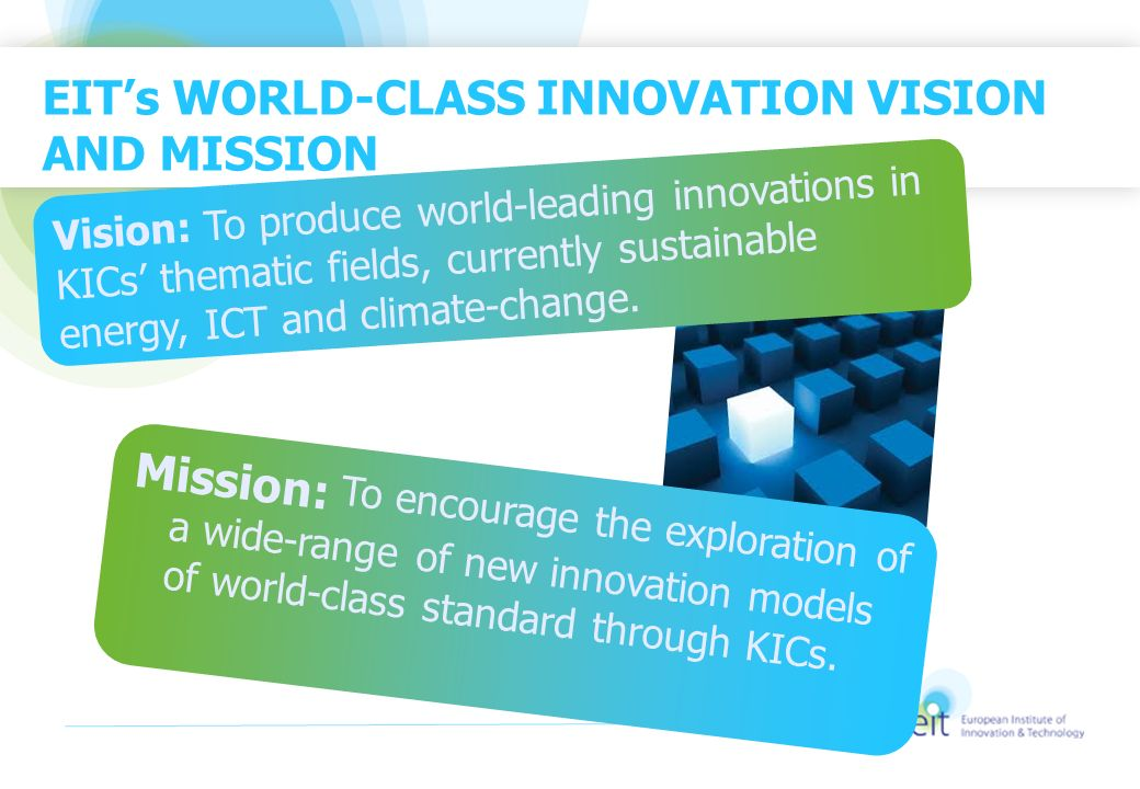 EIT's WORLD-CLASS INNOVATION VISION AND MISSION