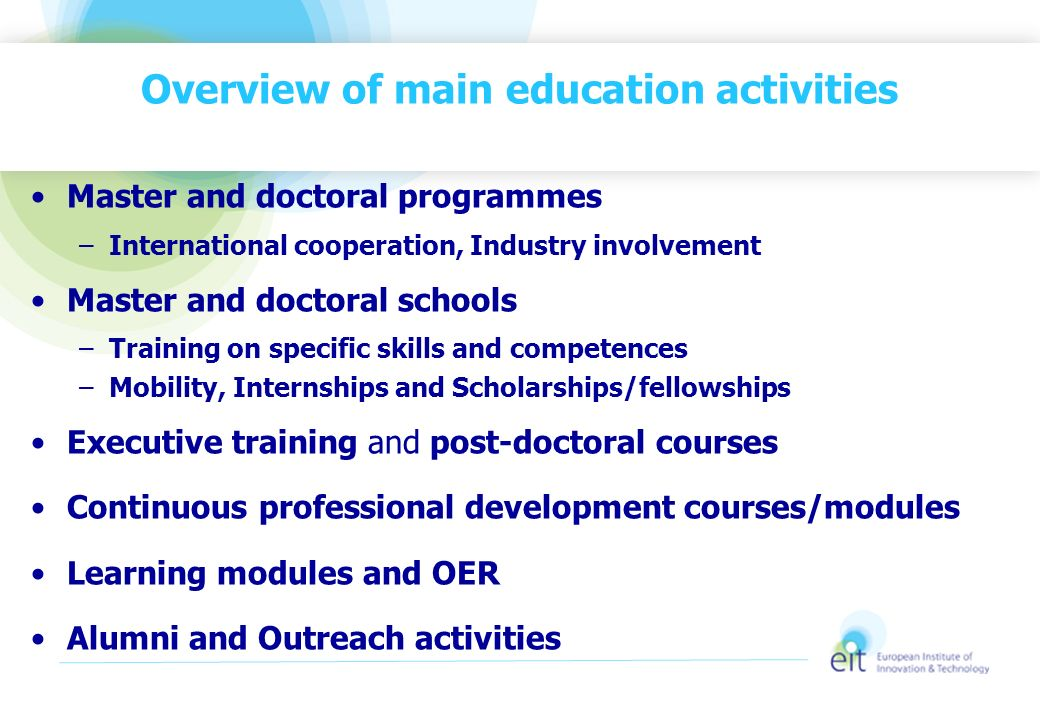 Overview of main education activities