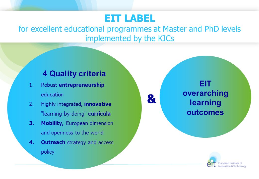 EIT overarching learning outcomes