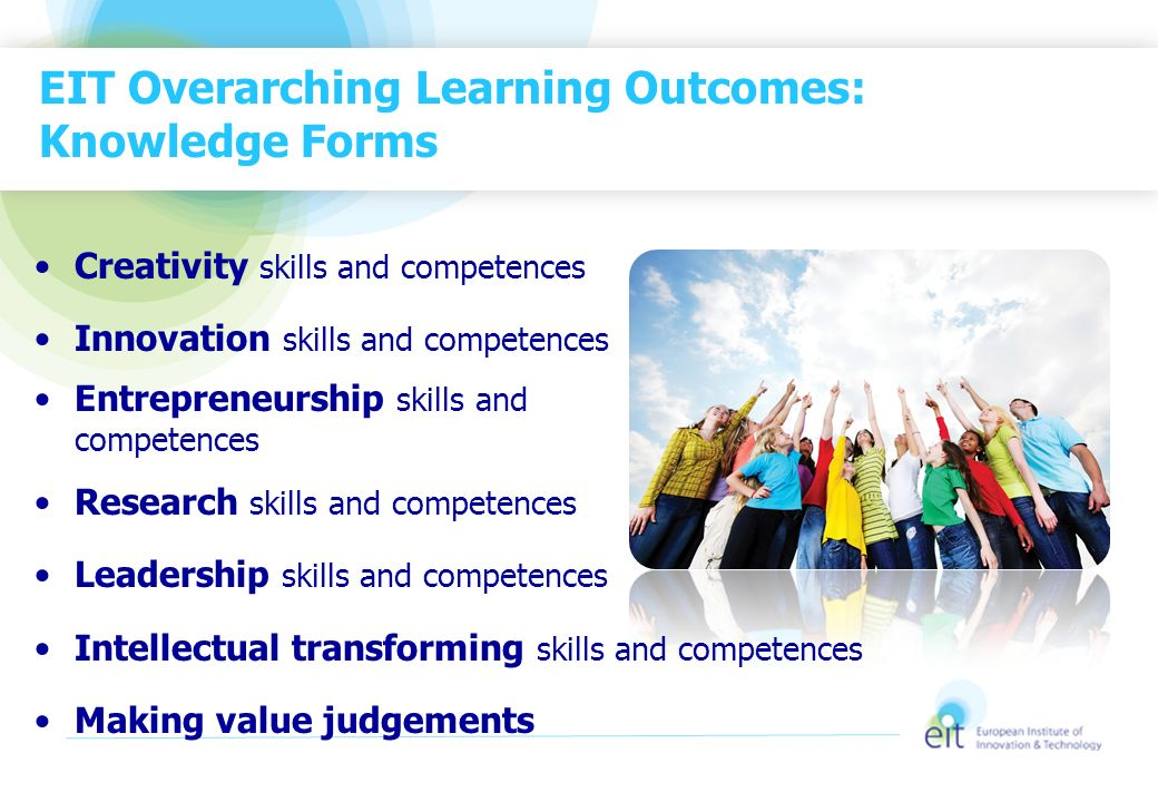 EIT Overarching Learning Outcomes: Knowledge Forms