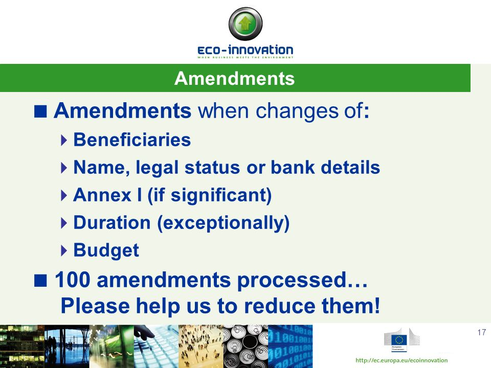 Amendments when changes of: