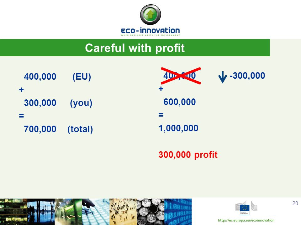 Careful with profit 400,000 (EU) + 300,000 (you) = 700,000 (total)