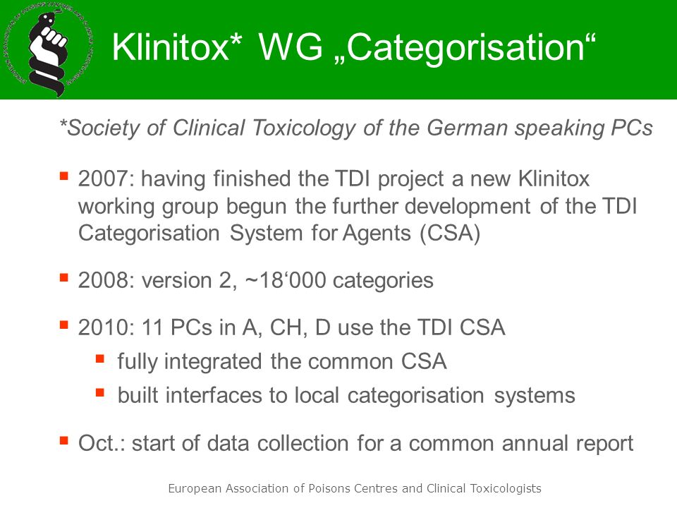 "Klinitox* WG ""Categorisation"
