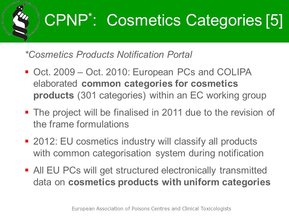 CPNP*: Cosmetics Categories
