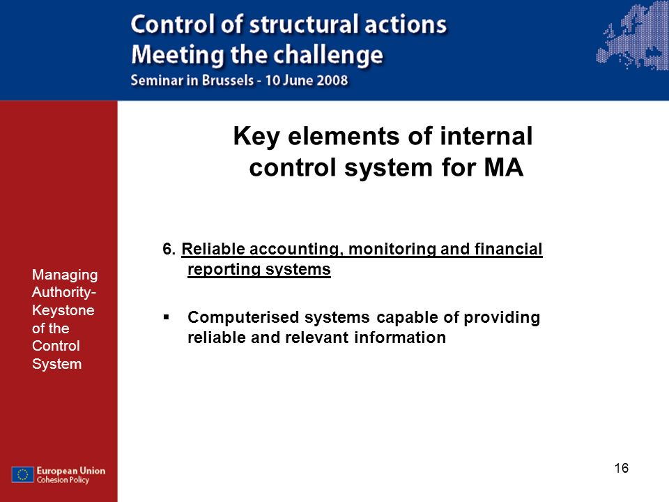Key elements of internal control system for MA
