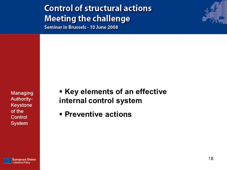 Key elements of an effective internal control system