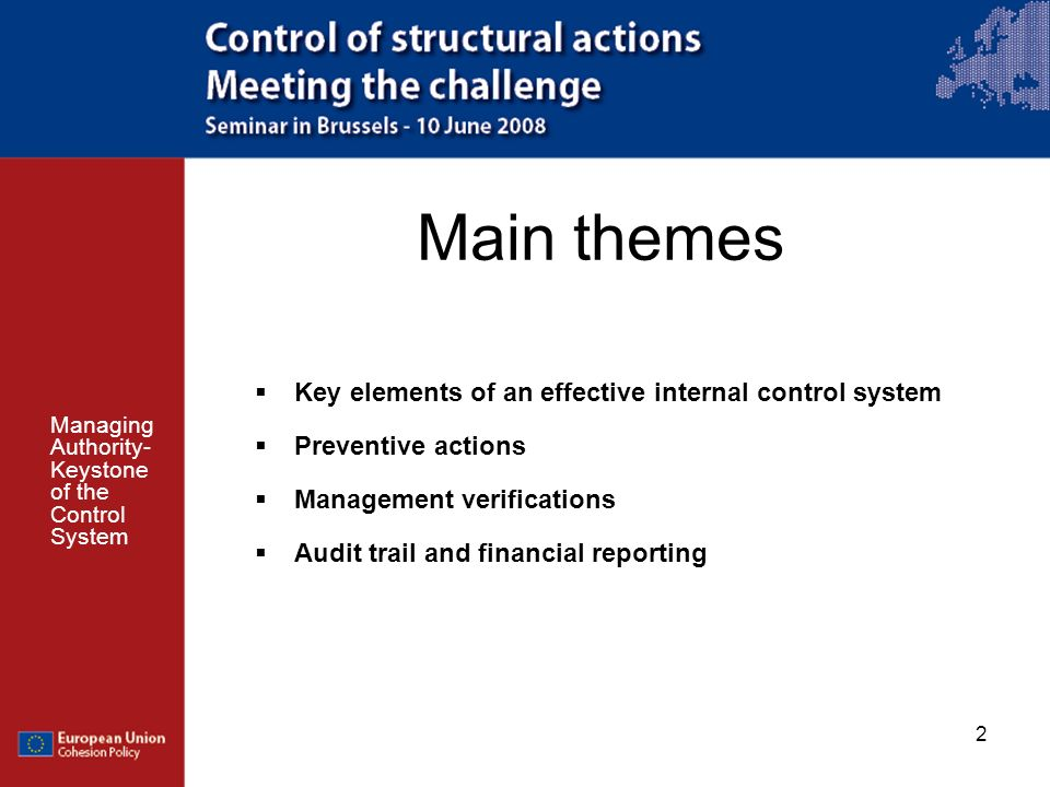 Main themes Key elements of an effective internal control system