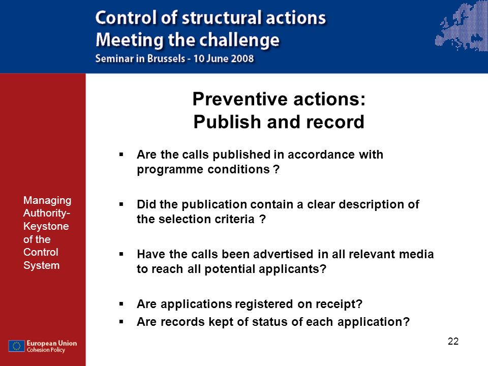Preventive actions: Publish and record