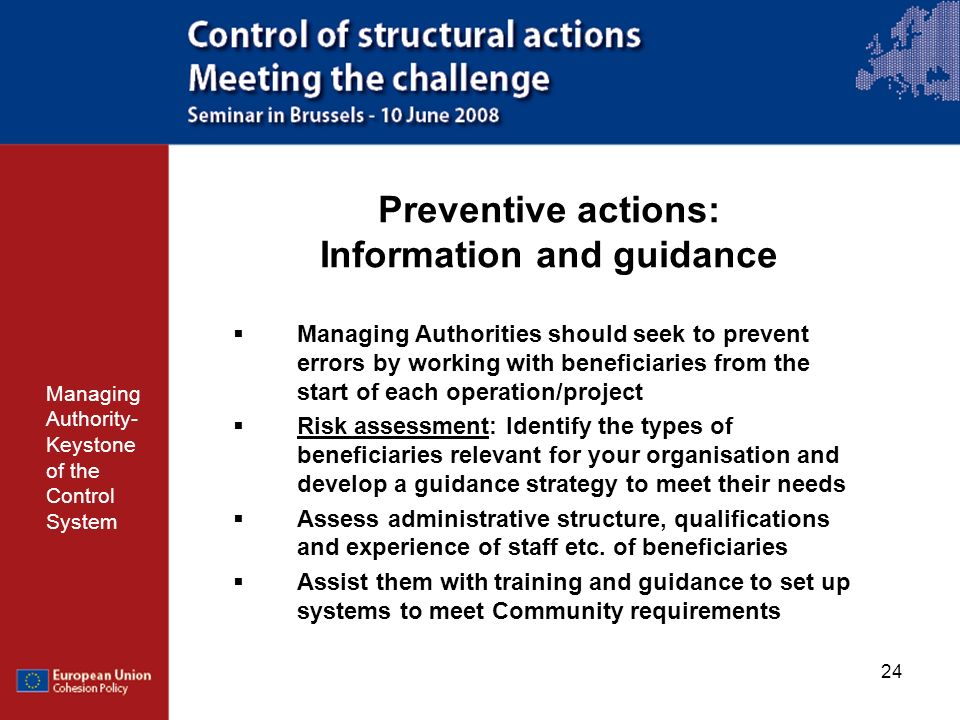 Preventive actions: Information and guidance