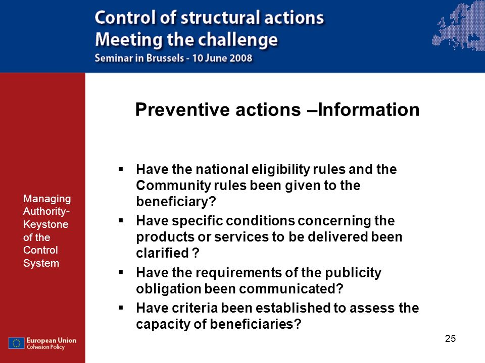 Preventive actions –Information