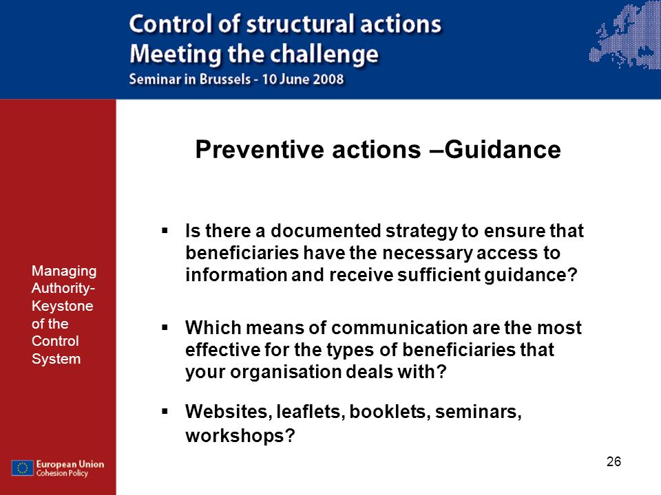 Preventive actions –Guidance