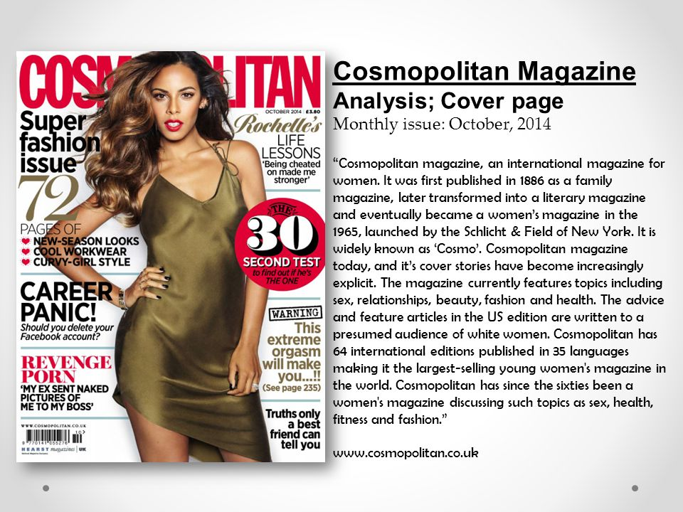 the positive and negative effects from cosmopolitan magazine on woman Depictions of beauty on cosmopolitan magazine: the negative feelings that the women had toward a model may have caused them.