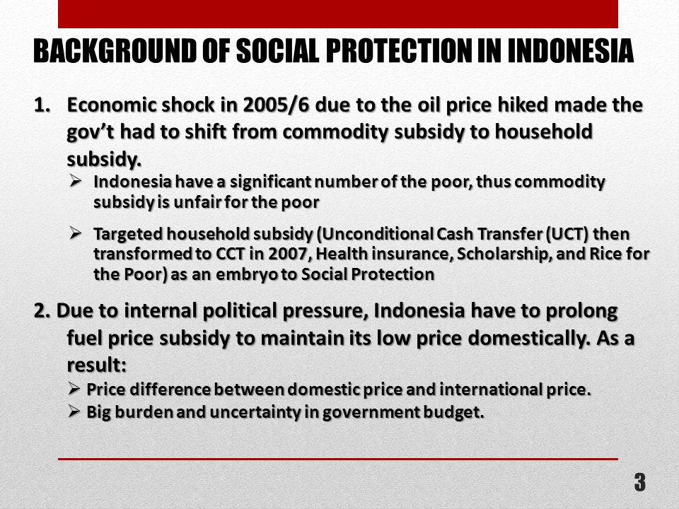 BACKGROUND OF SOCIAL PROTECTION IN INDONESIA