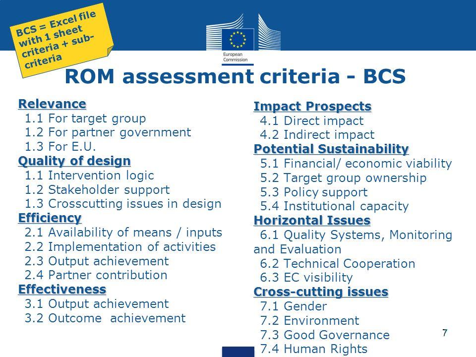 ROM assessment criteria - BCS