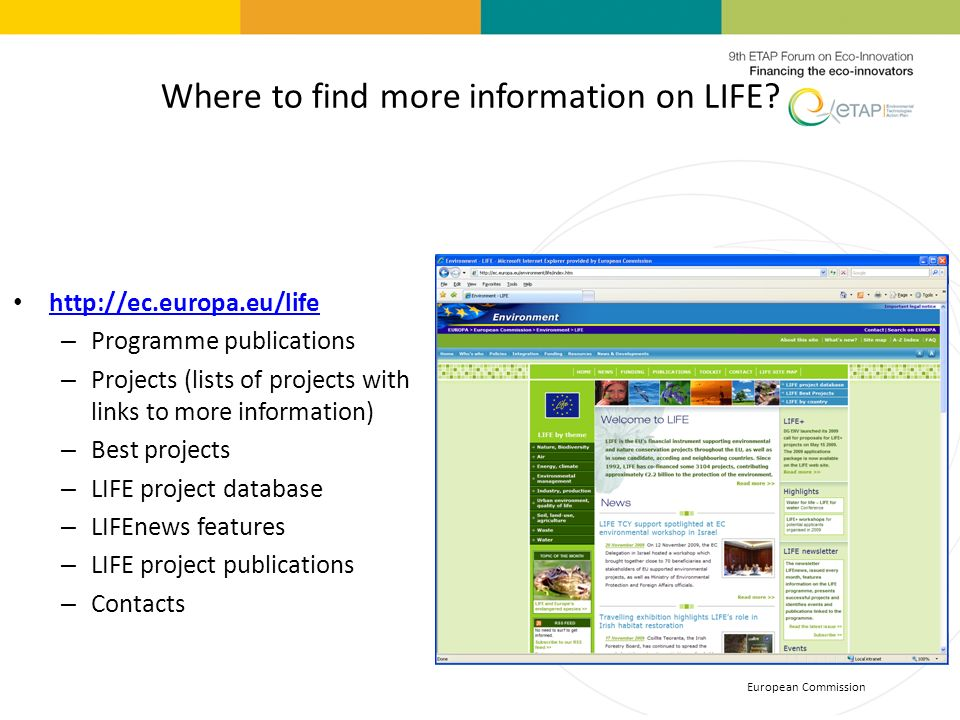 Where to find more information on LIFE