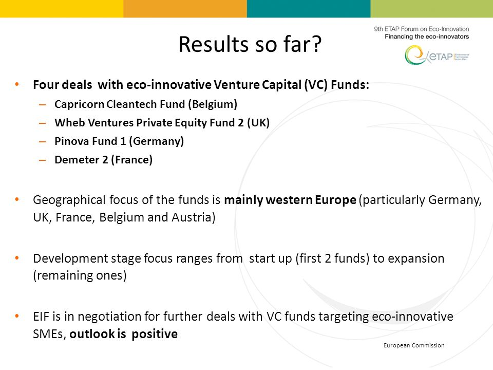 Results so far Four deals with eco-innovative Venture Capital (VC) Funds: Capricorn Cleantech Fund (Belgium)