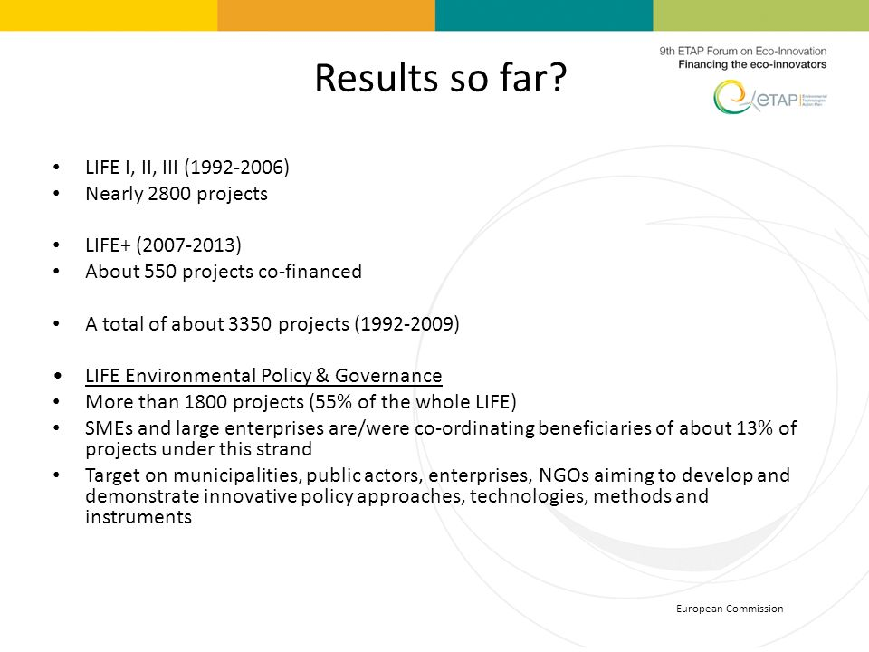 Results so far LIFE I, II, III (1992-2006) Nearly 2800 projects