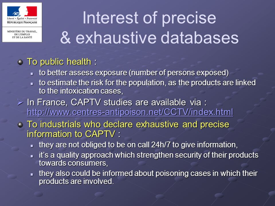 Interest of precise & exhaustive databases