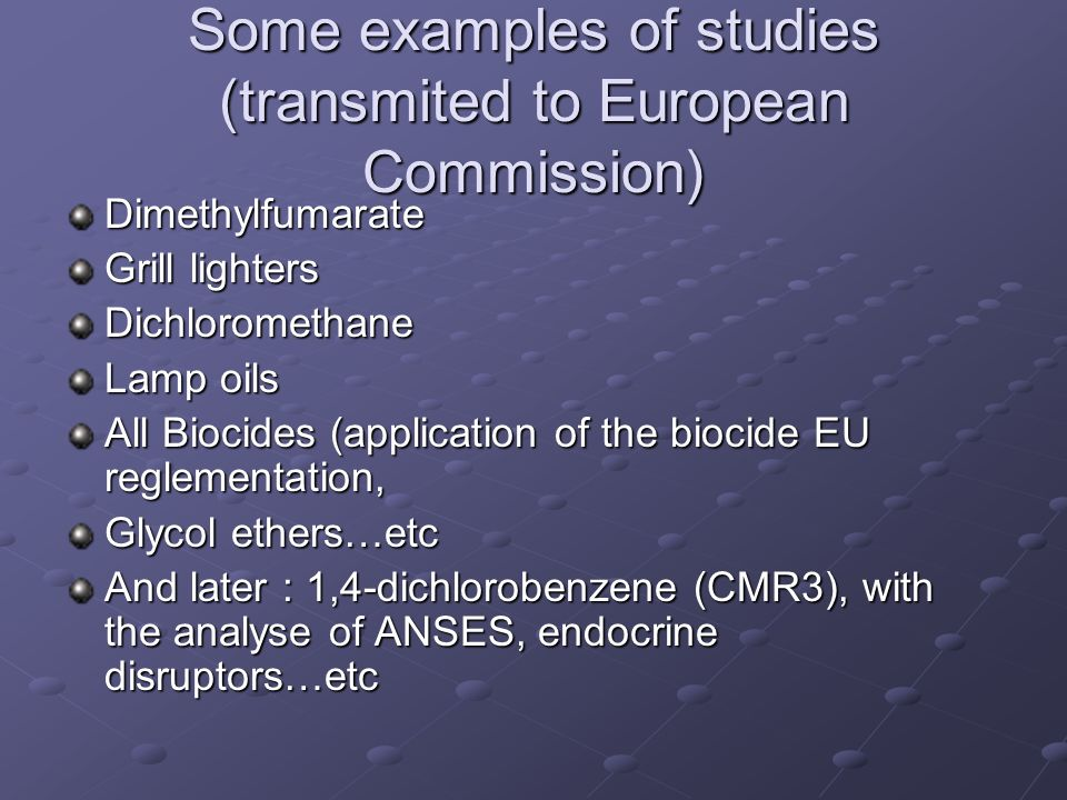Some examples of studies (transmited to European Commission)