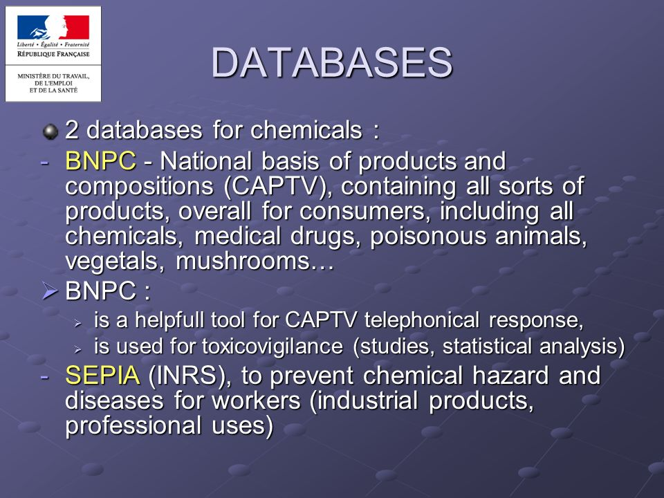 DATABASES 2 databases for chemicals :