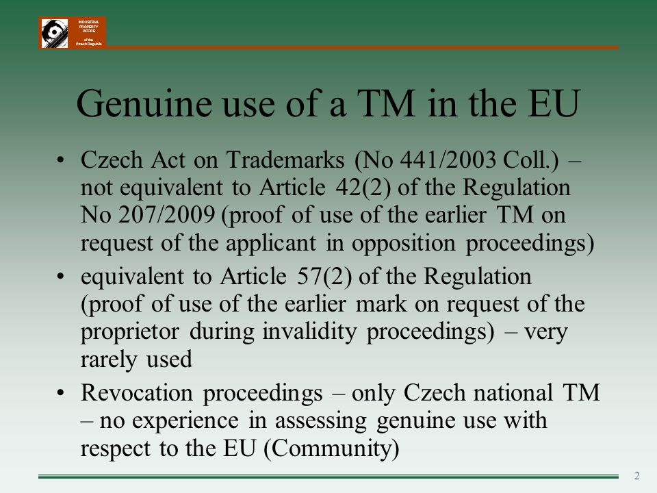 Genuine use of a TM in the EU
