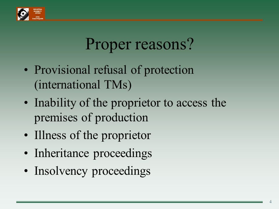 Proper reasons Provisional refusal of protection (international TMs)